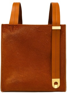 Sophie Hulme Woman Exchange Cube Leather-trimmed Calf Hair Tote Camel