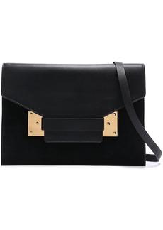 Sophie Hulme Woman Milner Suede And Matte-leather Shoulder Bag Black
