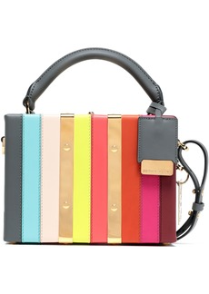 Sophie Hulme Woman Albany Mini Striped Leather Shoulder Bag Multicolor