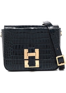 Sophie Hulme Woman The Quick Small Croc-effect Leather Shoulder Bag Midnight Blue
