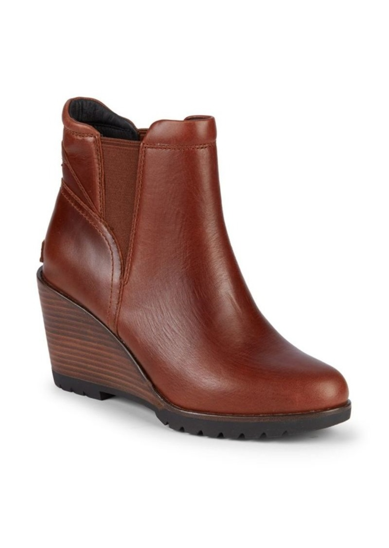 Sorel After Hours Chelsea Leather Wedge Heel Ankle Boots