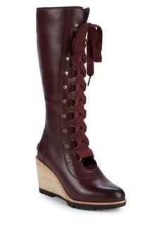 Sorel Afterhours Wedge Leather Lace-Up Boots