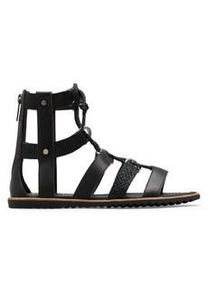 Sorel Ella Lace-Up Textured Leather Gladiator Sandals