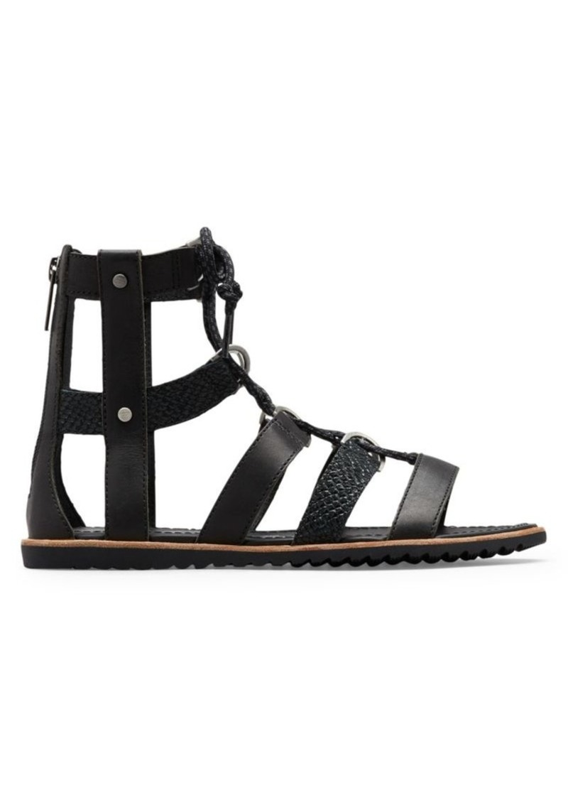 Sorel Ella Lace-Up Textured Leather Gladiator Sandals