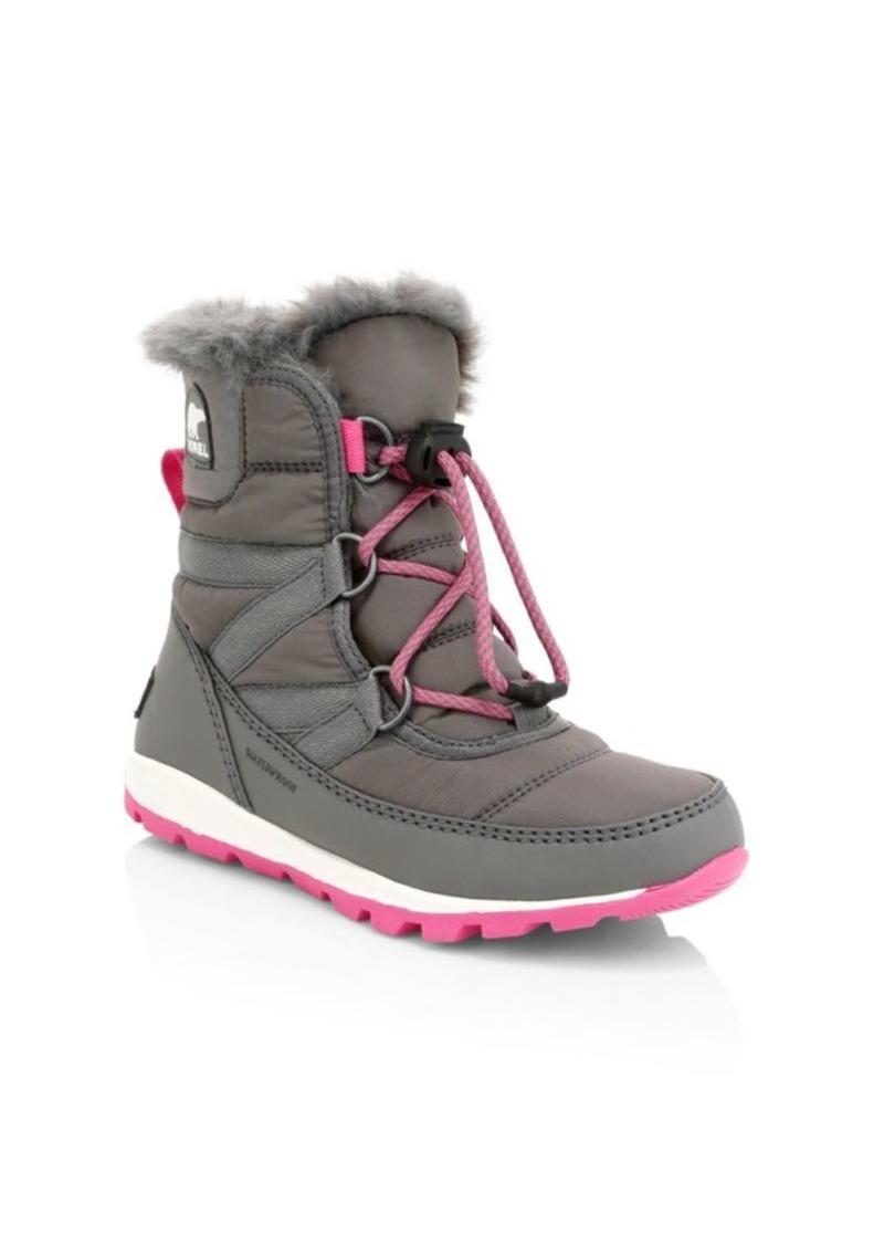 Sorel Girl's Faux Fur-Lined Waterproof Coated Leather Snow Boots