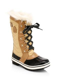 Sorel Girl's Faux Fur-Lined Waterproof Nylon Knee-High Boots