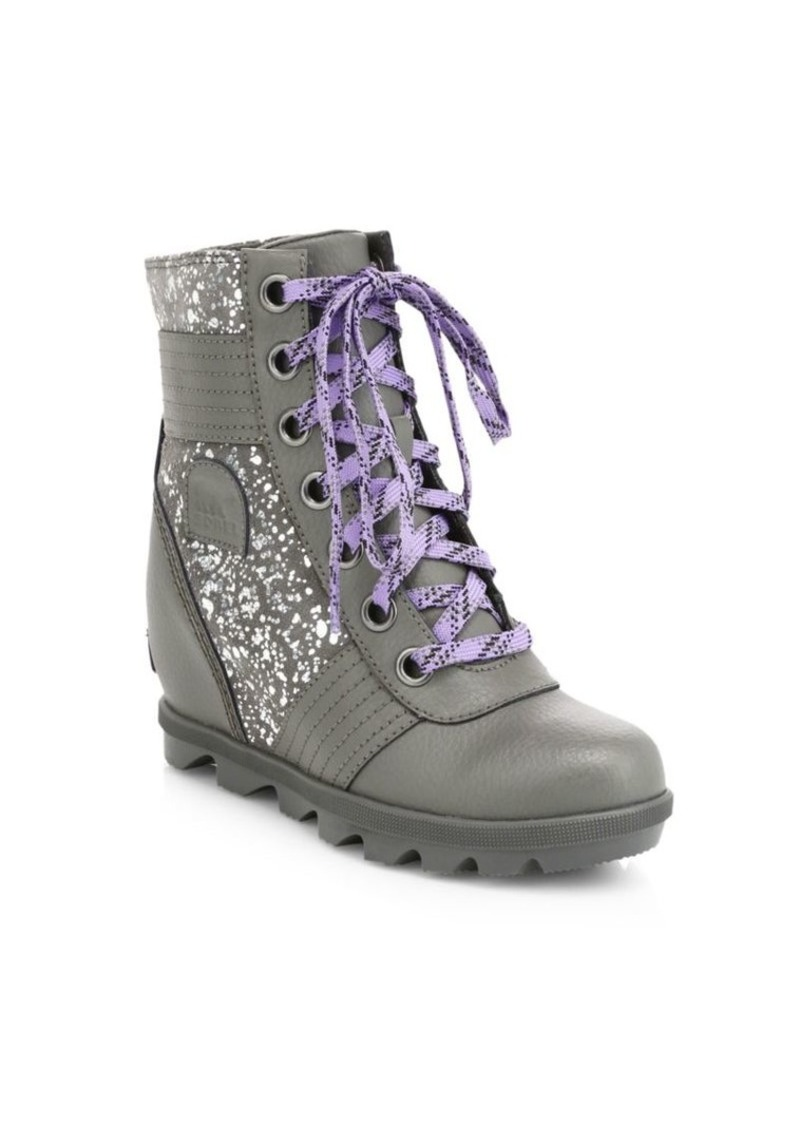 Sorel Girl's Lexie Glitter Coated Leather & Suede Platform Wedge Combat Boots