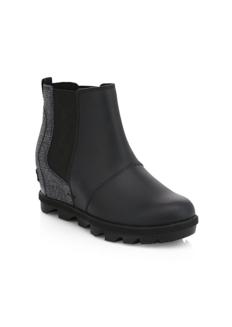 Sorel Girl's Waterproof Coated Leather Platform Wedge Chelsea Boots