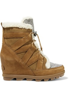 Sorel Joan Of Arctic Wedge Ii Shearling-trimmed Waterproof Nubuck, Suede And Felt Ankle Boots