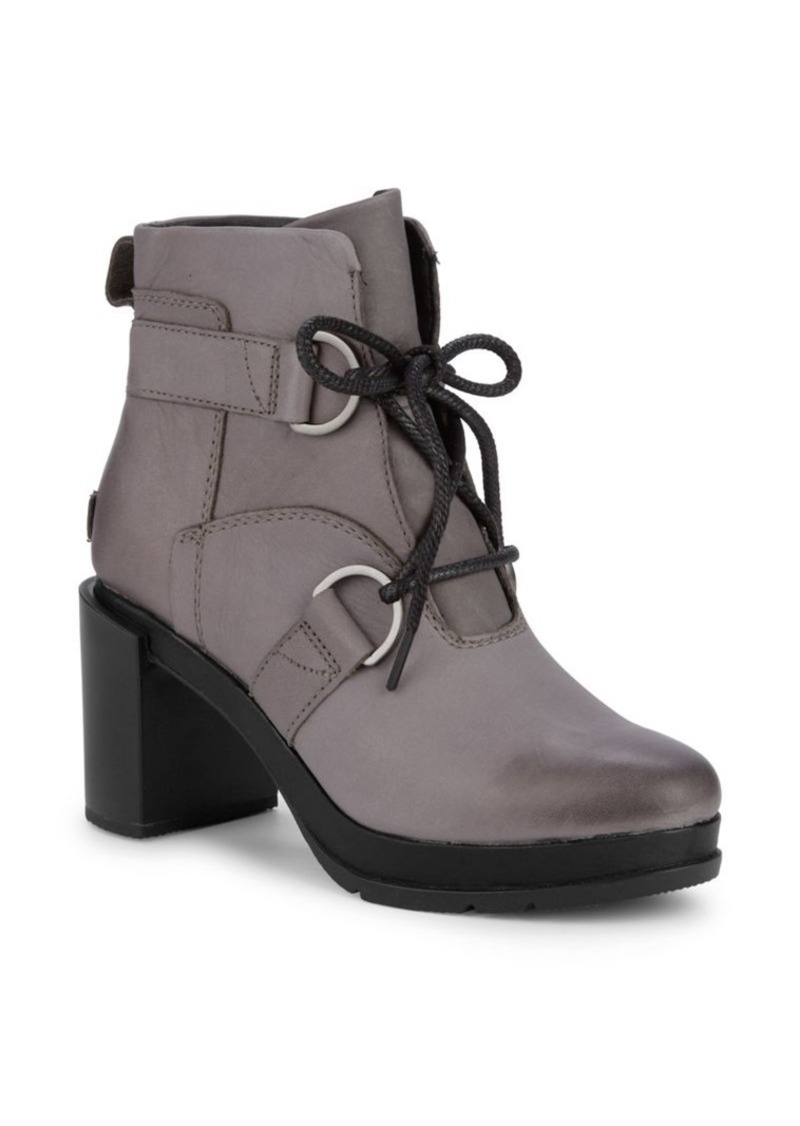 Sorel Margo Leather Lace-Up Platform Booties