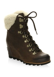 Sorel Conquest Wedge Leather Boots with Faux Fur