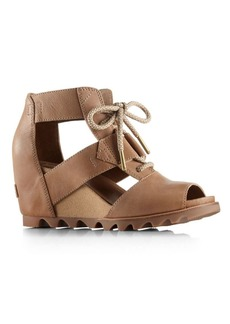 Sorel Joanie Leather Lace-Up Wedge Sandals
