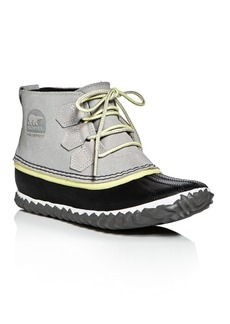 Sorel Out N About Waterproof Embossed Leather Lace Up Duck Booties