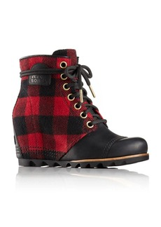Sorel PDX Plaid and Leather Wedge Booties