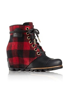 Sorel Plaid-Leather Wedge Booties