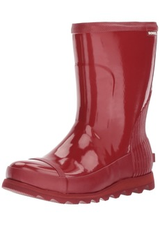 SOREL Women's Joan Rain Short Gloss Boot red Dahlia Candy Apple  M US