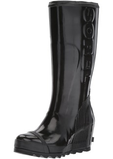 SOREL Women's Joan Rain Wedge Tall Gloss Boot Black sea Salt