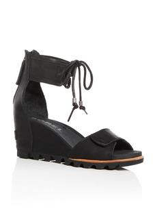 Sorel Women's Joanie Leather Ankle Tie Wedge Sandals