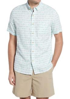Men's Southern Tide Palm Stripe Short Sleeve Button-Down Shirt