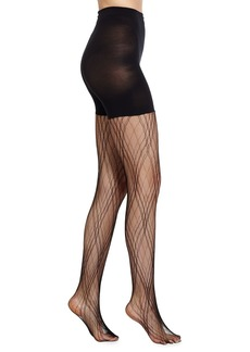 Spanx Plaid Lace Tights  Very Black