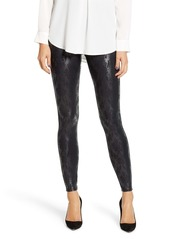SPANX® Brocade Print Faux Leather Leggings (Plus Size)