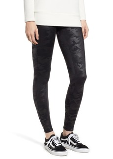 SPANX® High Waist Camo Faux Leather Leggings (Petite)