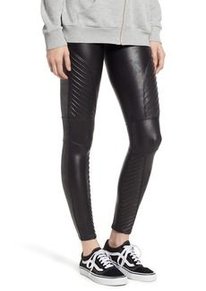 SPANX® High Waist Faux Leather Moto Leggings (Petite)