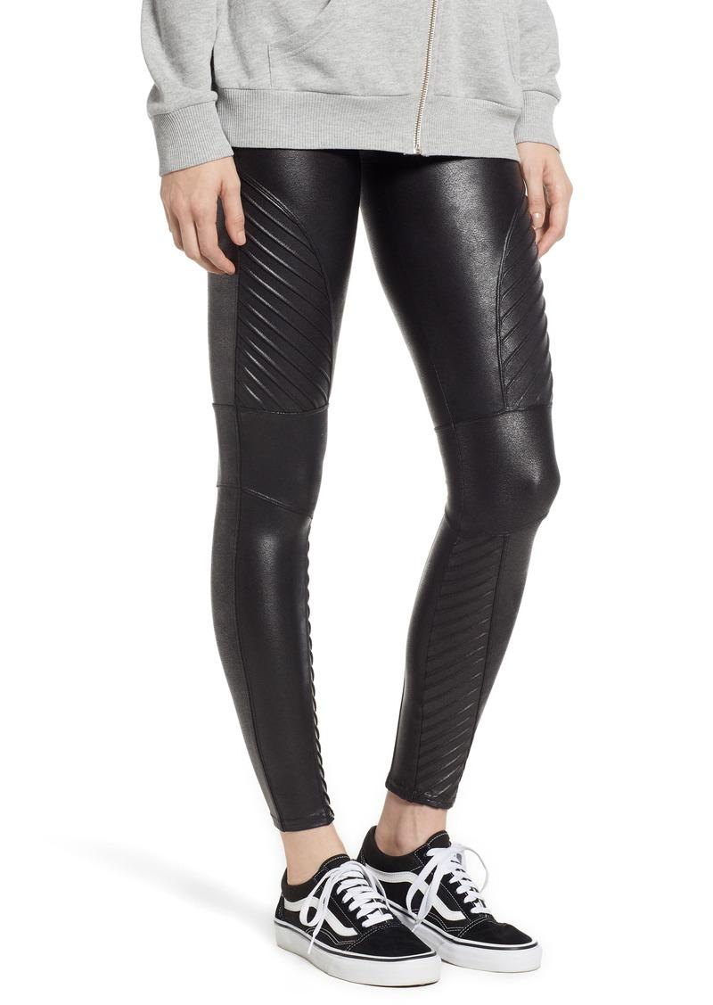 SPANX® Faux Leather Moto Leggings (Petite)