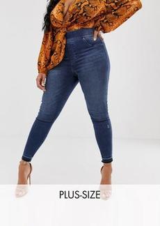 Spanx Plus distressed skinny jean in blue