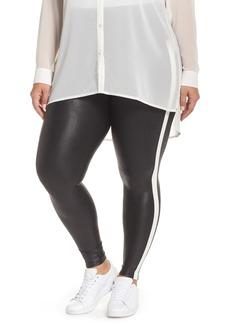 SPANX® Side Stripe Faux Leather Leggings (Plus Size)