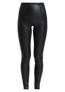 Spanx Zippered Leather-Look Leggings
