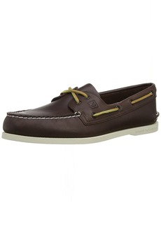 Sperry Top-Sider Sperry Mens A/O 2-Eye Burnished Boat Shoe Dark Brown/Tan Size 10.5 M