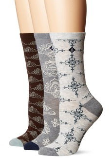 Sperry Top-Sider Women's 3 Pack Crew Socks charcoal heather assorted