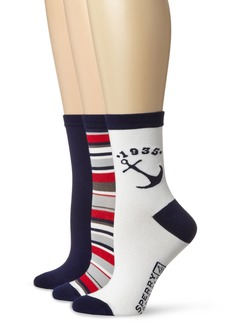 Sperry Top-Sider Women's Boating Anchor 3 Pair Pack Crew Socks  9-11