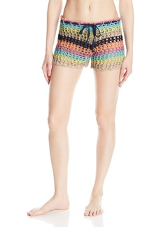 Sperry Top-Sider Women's Poolside Striped Crochet Shorts Cover up  M