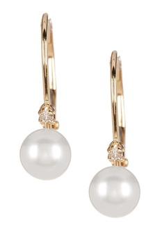 Splendid 14K Yellow Gold Diamond Accented 5-5.5mm Cultured Freshwater Pearl Earrings