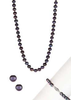 Splendid 7-8mm Black Cultured Freshwater Pearl Necklace, Bracelet, & Earrings Set