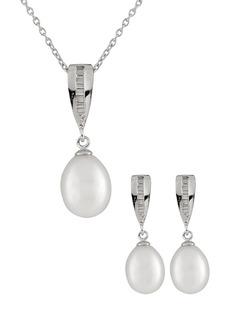 Splendid 7-8mm White Freshwater Pearl & Channel Set Baguette Pendant Necklace & Earrings Set