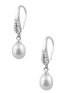 Splendid 7.5-8mm Freshwater Pearl & CZ Drop Earrings