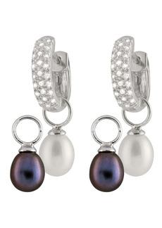 Splendid 8-8.5mm Black & White Interchangeable Cultured Freshwater Pearl Day & Night Earrings
