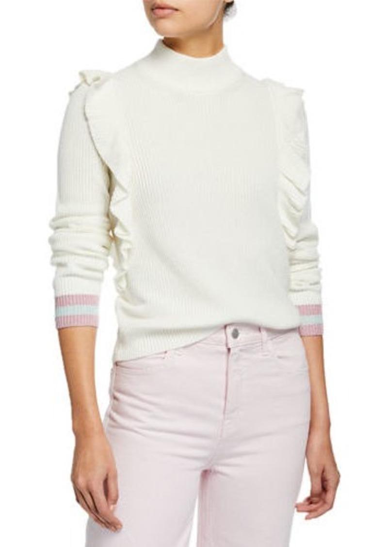 Splendid Amico Ruffled Turtleneck Pullover Sweater