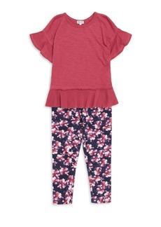Splendid Baby Girl's Two Piece Cotton-Blend Flounce Top & Leggings Set