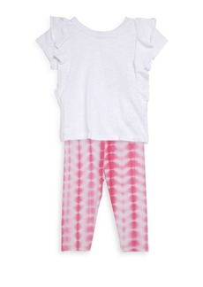 Splendid Baby's, Toddler's & Little Girl's Two Piece Ruffle Top & Tie-Dye Leggings Set