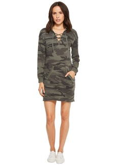 Splendid Camo Lace-Up Hoodie Dress