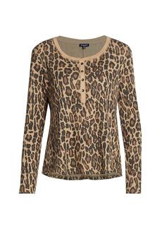 Splendid Leopard-Print Henley Thermal Top