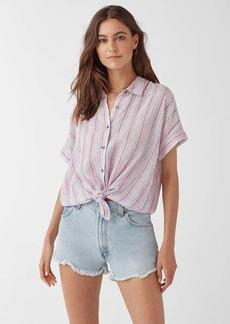 Splendid Canyon Short Sleeve Linen Stripe Button Up Shirt