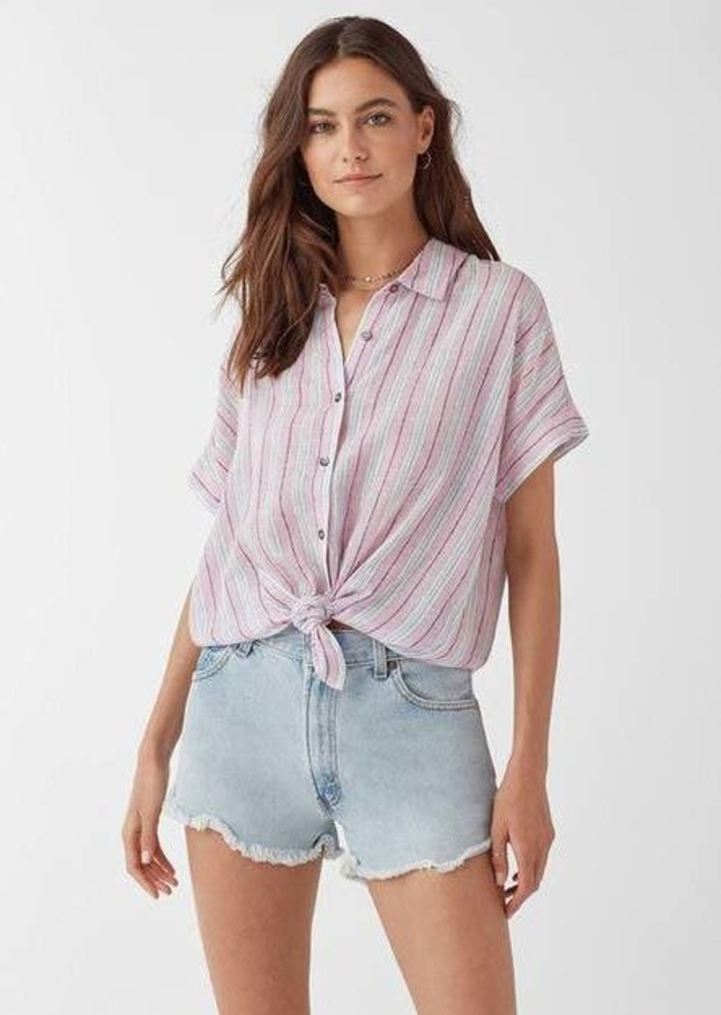 Splendid Canyon Short Sleeve Linen Stripe Button Up Shirt