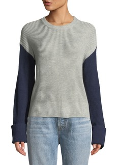 Splendid Colorblocked Crewneck Pullover Sweater