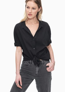 Splendid Cotton Voile Short Sleeve Boyfriend Shirt