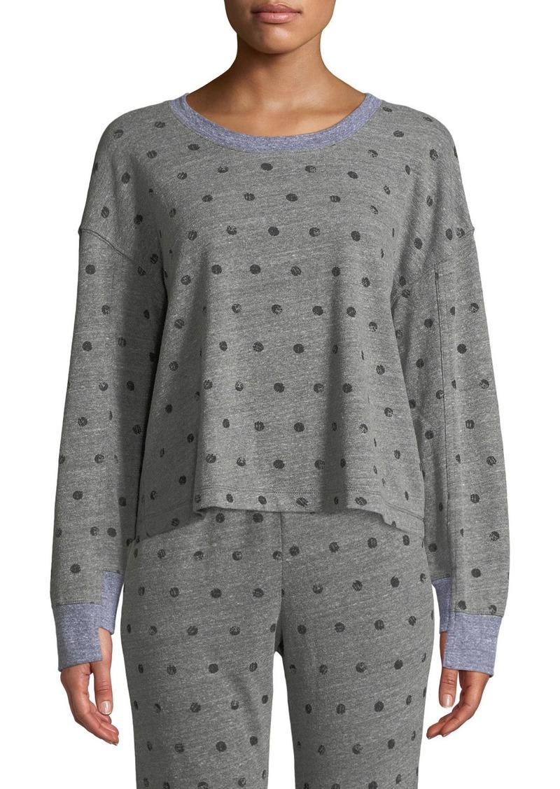 Splendid Crewneck Paint-Dot Pullover Sweatshirt